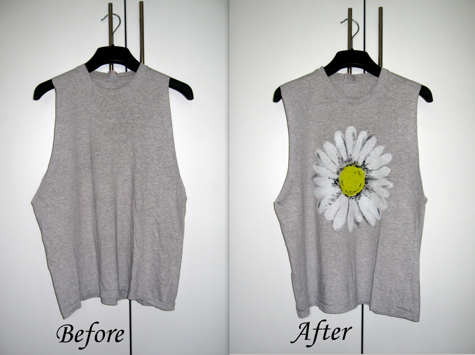 daisy print t-shirt from urban outfiters inspired DIY, DIY t shirt tee top, daisy print top DIY, black top with white daisy print, grey top with white daisy print, DIY