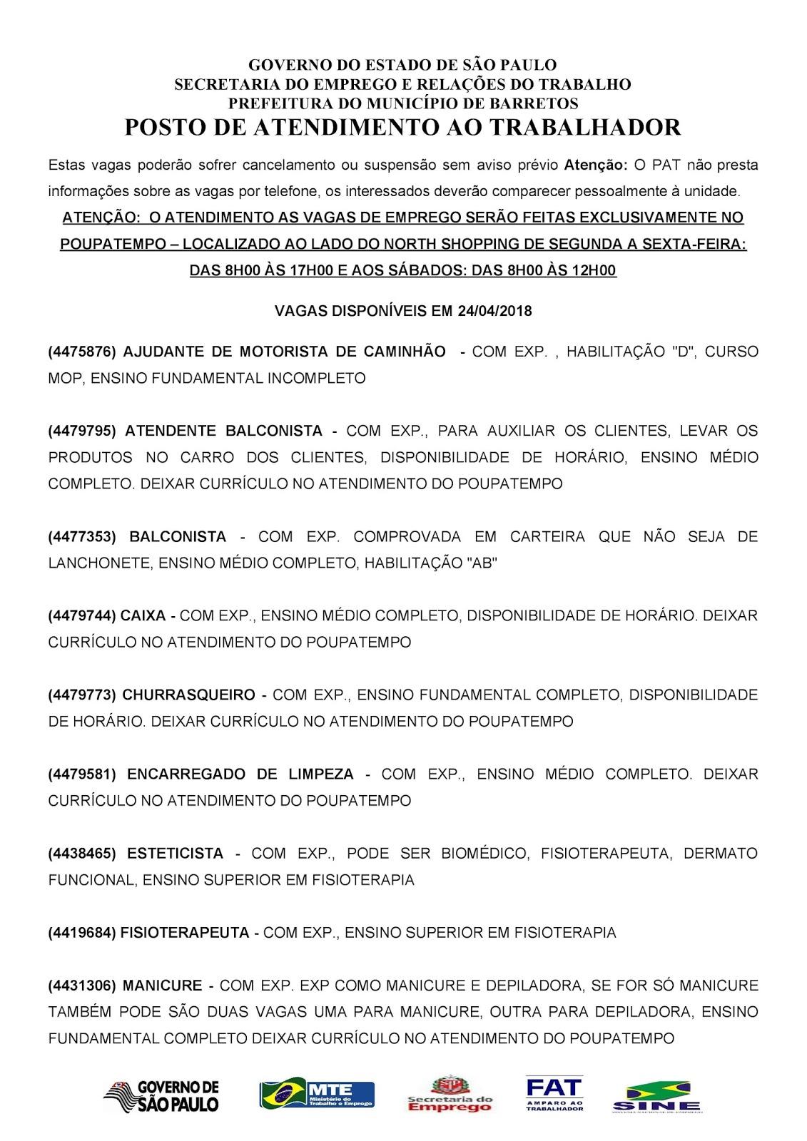 VAGAS DE EMPREGO DO PAT BARRETOS-SP PARA 24/04/2018 TERÇA-FEIRA - Pag. 1