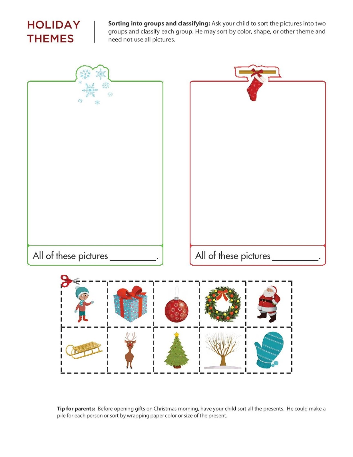 Kindergarten Worksheets December