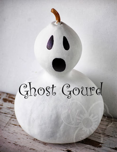 Halloween painted ghost gourd