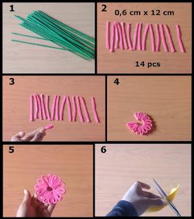 Gambar tutorial buket bunga daisy dari kain flanel part 1