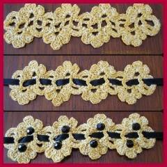 Pulsera en oro y negro a crochet