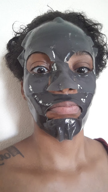 Boscia Charcoal Pore-Minimizing Hydrogel Mask applied - www.modenmakeup.com