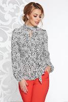 Bluza dama StarShinerS alba cu croi larg din material satinat accesorizata cu cordon