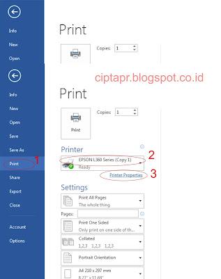 Head cleaning printer epson L360 pada windows 7