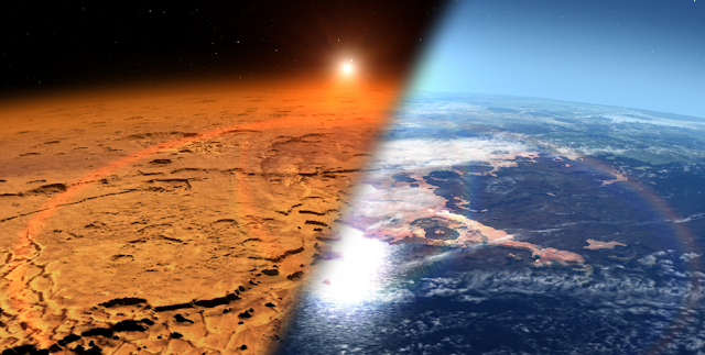 This artist's concept depicts the early Martian environment (right) – believed to contain liquid water and a thicker atmosphere – versus the cold, dry environment seen at Mars today (left). NASA's Mars Atmosphere and Volatile Evolution is in orbit of the Red Planet to study its upper atmosphere, ionosphere and interactions with the sun and solar wind.  Credits: NASA's Goddard Space Flight Center