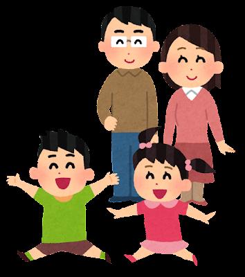 笑顔で子供を見守る親のイラスト