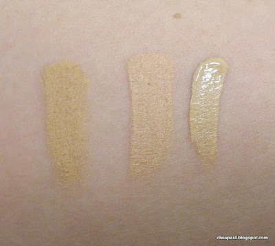 Swatches of Stila Stay All Day Concealer in Fair, theBalm Time Balm Serum Concealer in Lighter than Light, Sephora Collection Bright Future Gel Serum Concealer in Fondant