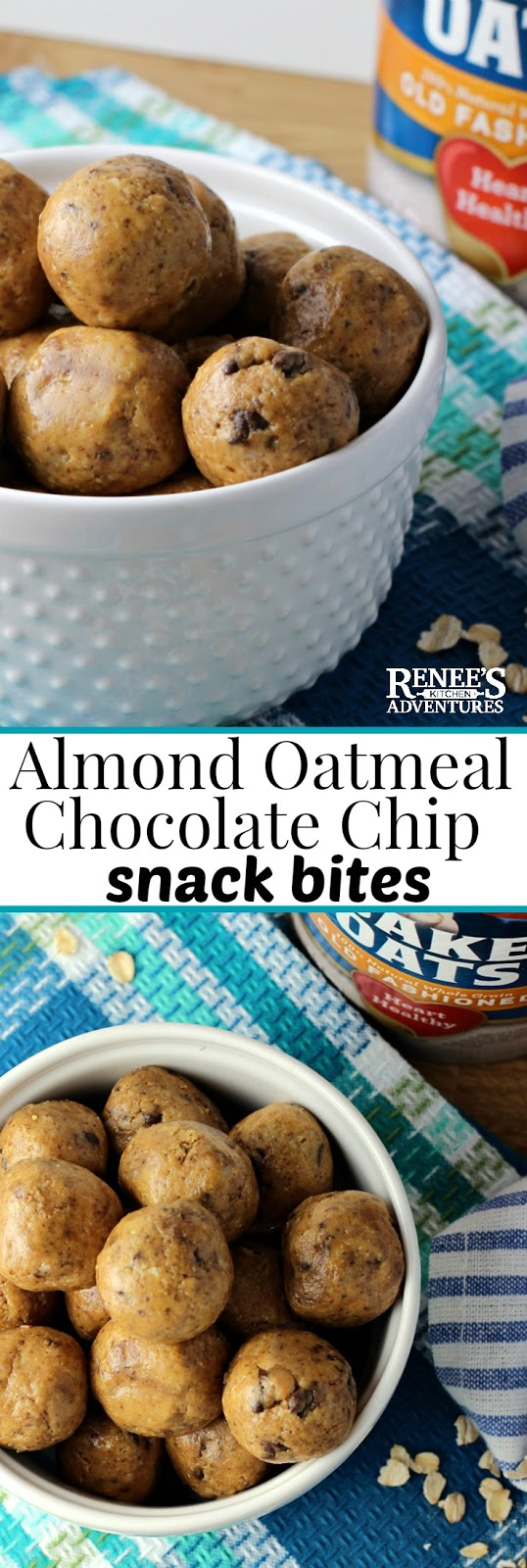 Almond Oatmeal Chocolate Chip Bites | by Renee's Kitchen Adventures - Easy recipe for snack bites made from the good stuff...almonds, oats, honey, and just a touch of dark chocolate for a snack bite or energy bite the whole family will love! Easy to make and take along with you on the go! They make a perfect snack, dessert, or breakfast. Enjoy these Almond Oatmeal Chocolate Chip Bites anytime of the day! #iHeartQuakerOats #ad #oatmealrecipes #energybites #snacks