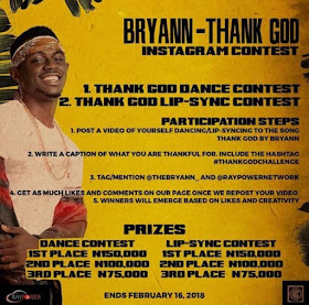Win N150,000 & More in 'Bryann – Thank God' Instagram Contest | @TheBryann_