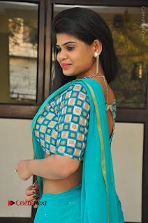 Telugu Actress Alekhya Stills in Green Saree at Swachh Hyderabad Cricket Press Meet  0069.JPG