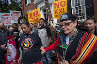 Protesters, including Native American tribes, began opposing the Keystone XL pipeline during the Obama administration. (Credit: Paul J. Richards/AFP/Getty Images) Click to Enlarge.