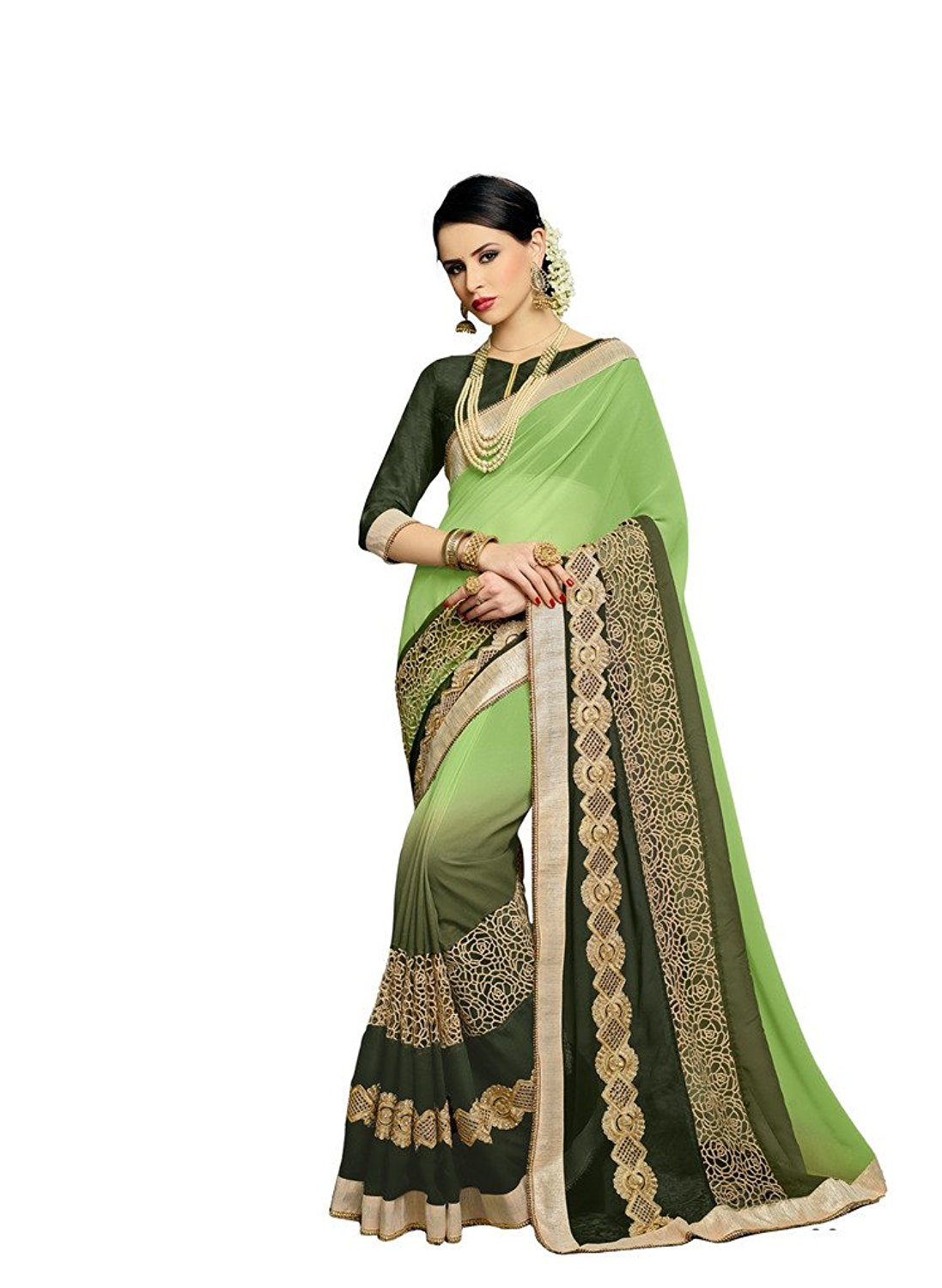 Bahubali Faux Georgette Sare in Green Color