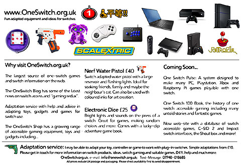 A range of switch adapted toys and video gaming equipment along with text copied in the main part of this post.