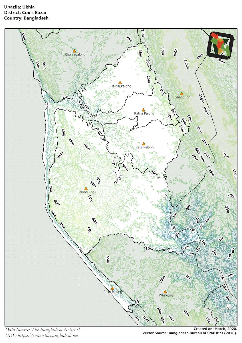 Ukhia Upazila Elevation Map Cox's Bazar District Bangladesh