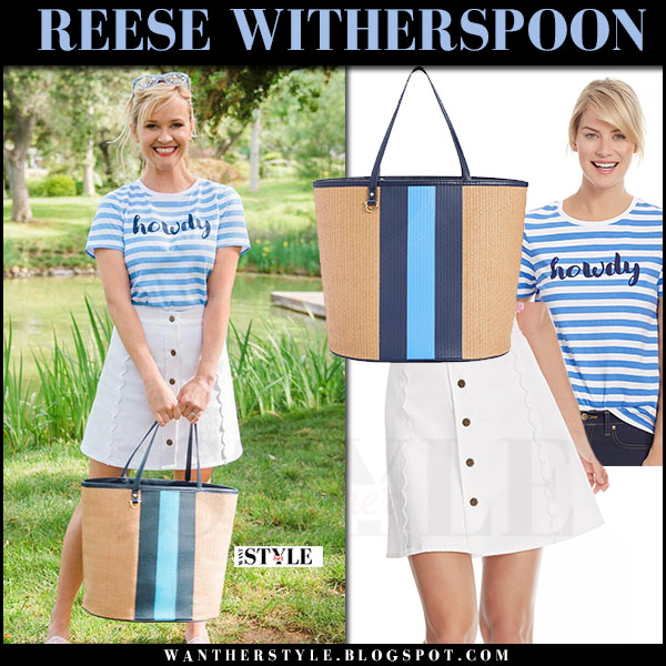 Reese Witherspoon in blue stripe tee and white mini skirt draper james what she wore june 2 2017 summer style