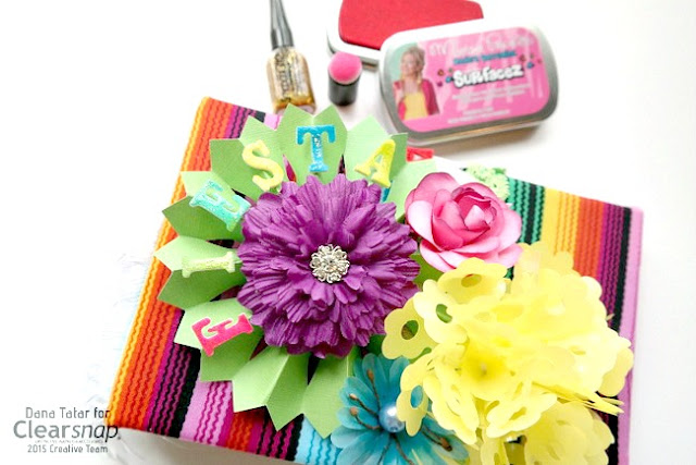 Bright Colored Recipe Album with Flowers and Glittered Foam Letters