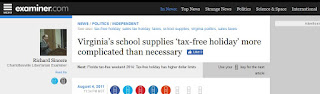 tax-free holiday Examiner.com taxes Virginia politics