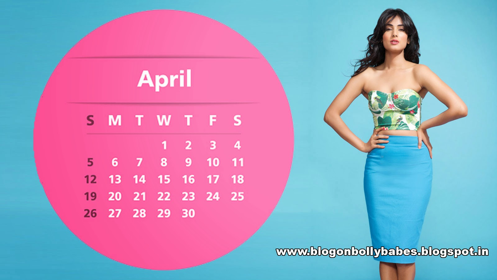 Sonal Chauhan Desktop calendar wallpaper in flower printed corset top and blue skirt