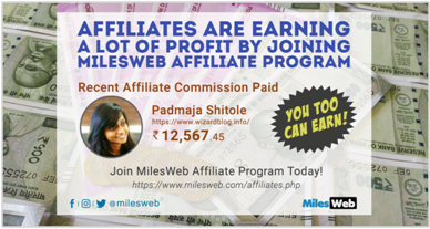 milesweb affiliate payment proof