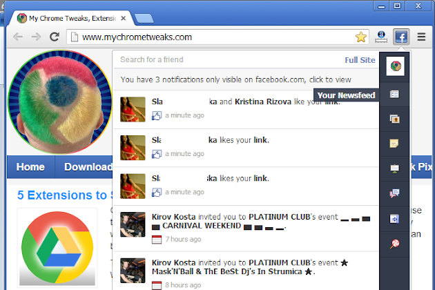 Facebook Extension for Google Chrome