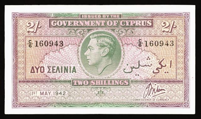 Cyprus Banknotes 2 Shillings banknote 1942 King George VI
