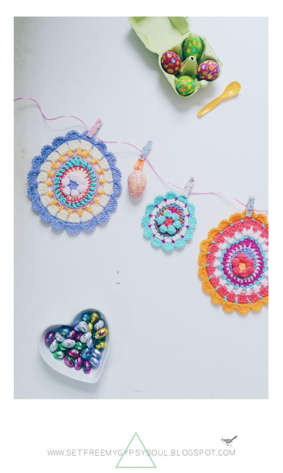 easter egg mandala bunting free crochet pattern