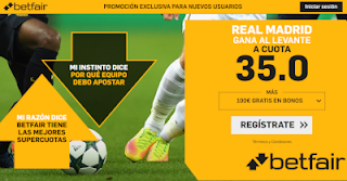 betfair supercuota Real Madrid gana al Levante 20 octubre