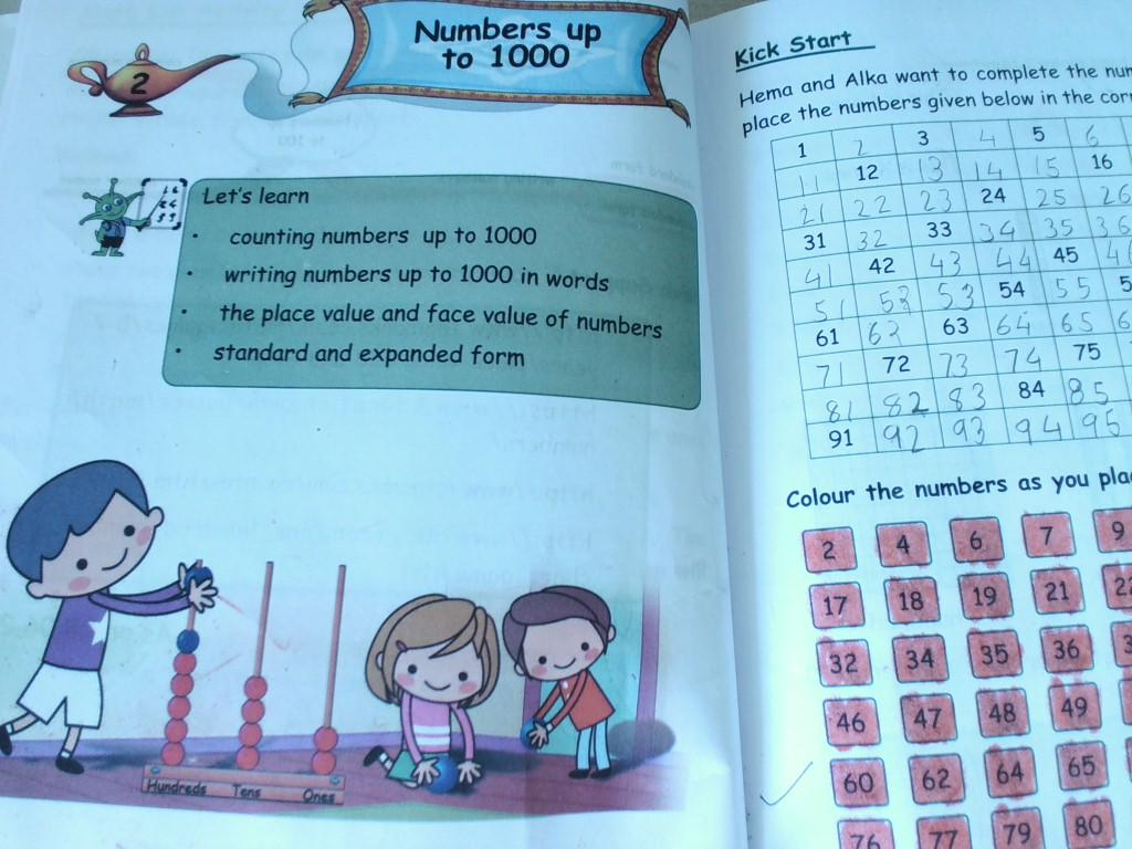 Maths: ch 2 Numbers up to 1000(T.B.Work) and mental Math work ...