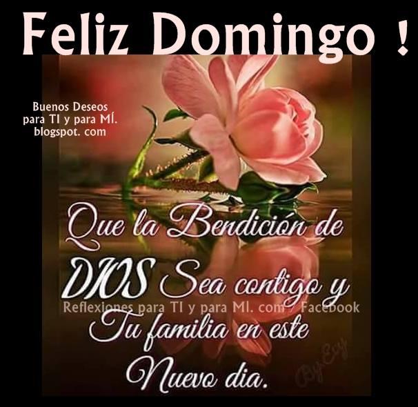 FELIZ DOMINGO Que la bendición de DIOS  Sea contigo y tu familia en este nuevo día.
