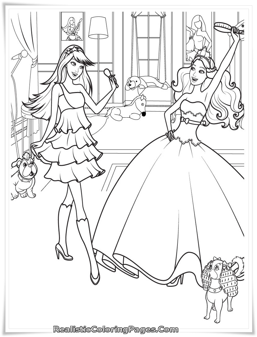 Barbie 12 Dancing Princesses Printable Coloring Pages Coloring Page