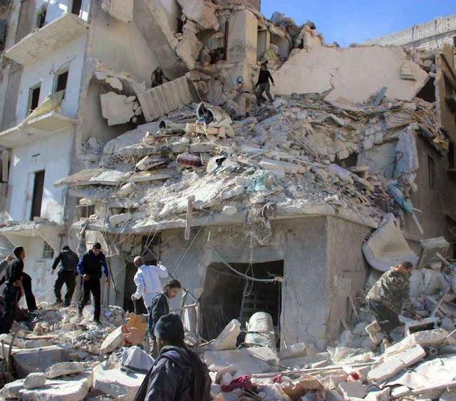 Alvos civis atingidos pela aviação russa na região de Aleppo