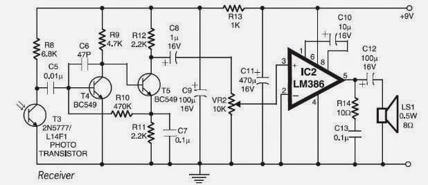 Pcb Diagram Of Laser Communication System By Using Lm386