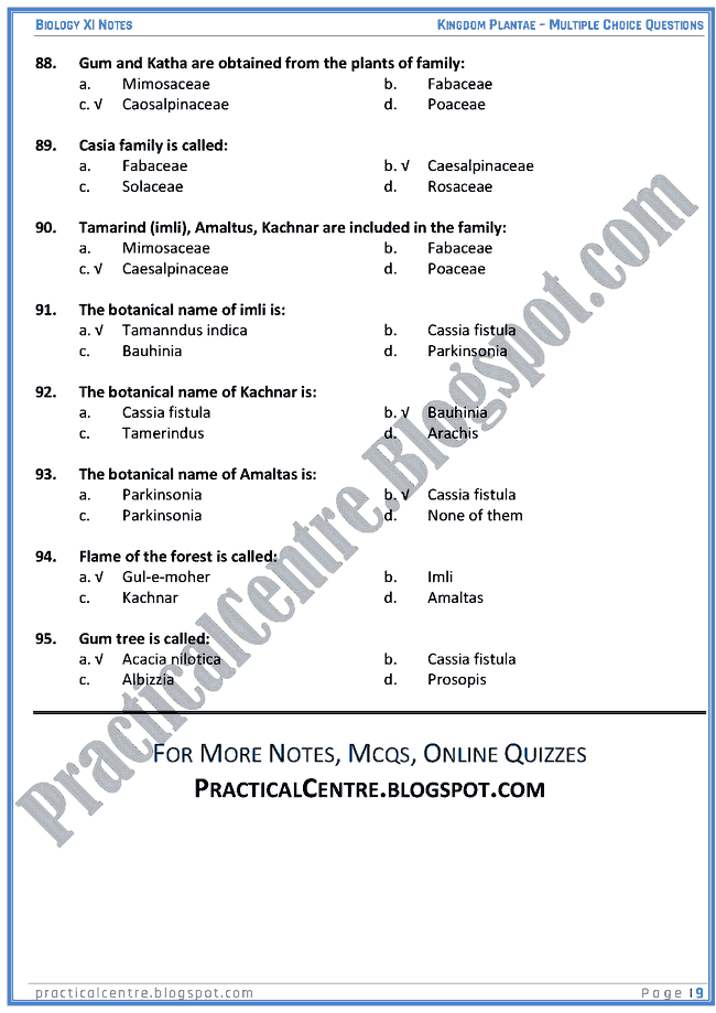 Kingdom Plantae - Multiple Choice Questions (MCQs) - Biology XI