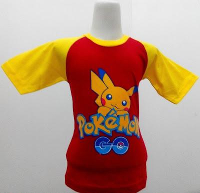 Kaos Raglan Anak Karakter Pokemon Go 2 Merah