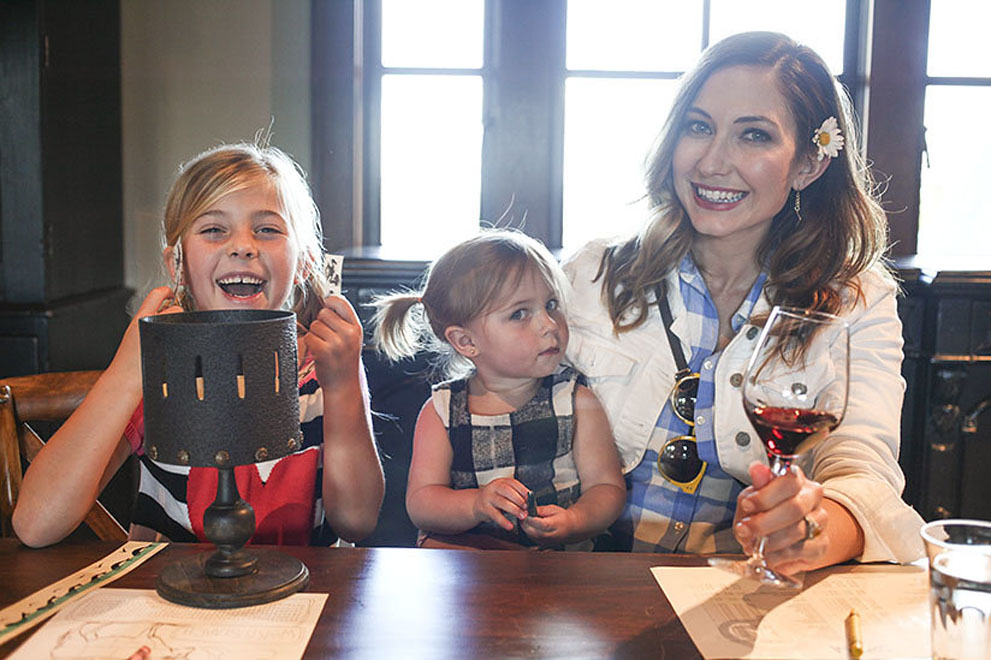 Amy West and kids enjoy a tasting experience at Francis Ford Coppola Winery