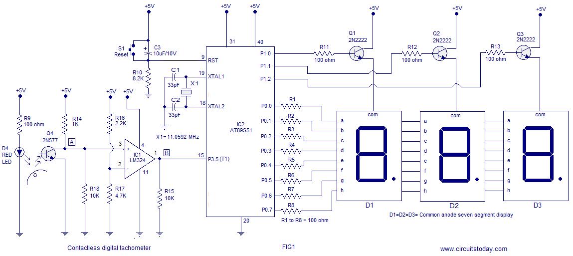 digital tachometer using 8051 electronics. Black Bedroom Furniture Sets. Home Design Ideas