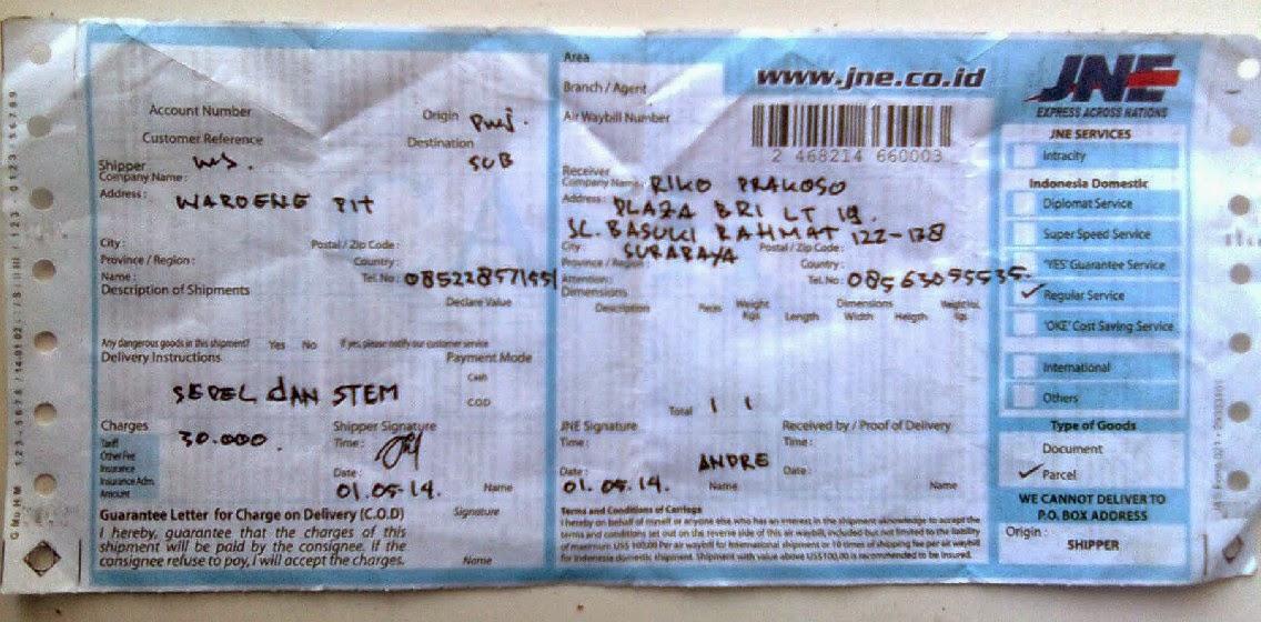 Bukti No Resi Jne Pengiriman paket ke surabaya riko yg membuktikan waroengpit terpercaya sebagai toko sepeda gunung mtb online waroengpit.jpg