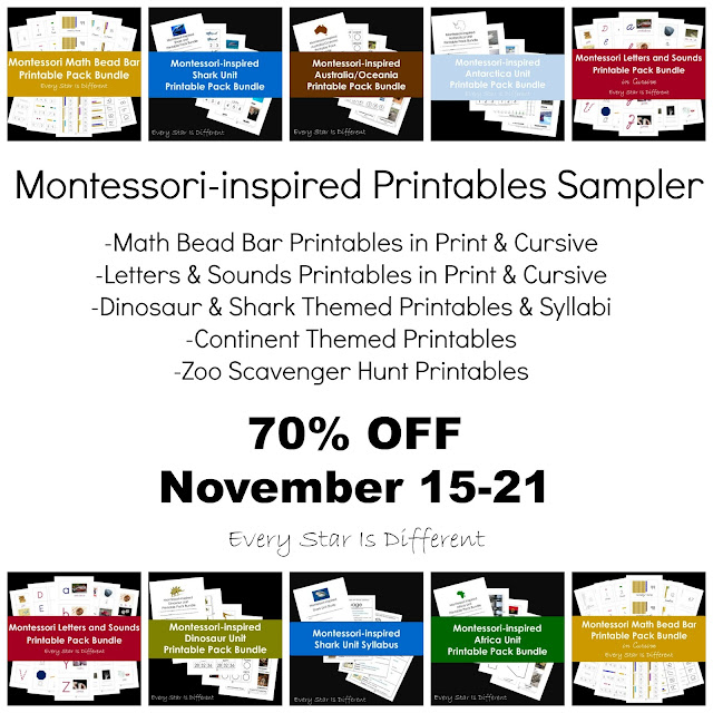 Montessori-inspired Printables Sampler from Every Star Is Different