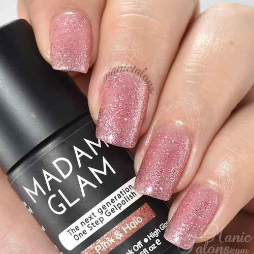 Madam Glam Gel Polish Pink and Holo Swatch