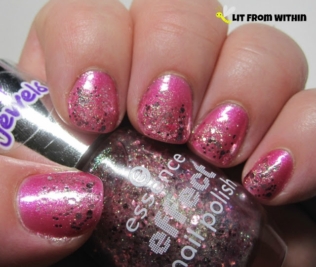 I paired glittery Essence Jewels Glitz and Glam over the hot pink Essence Girls Night Out.