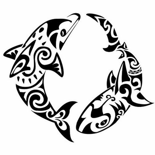 Shark and dolphin Maori tattoo stencil