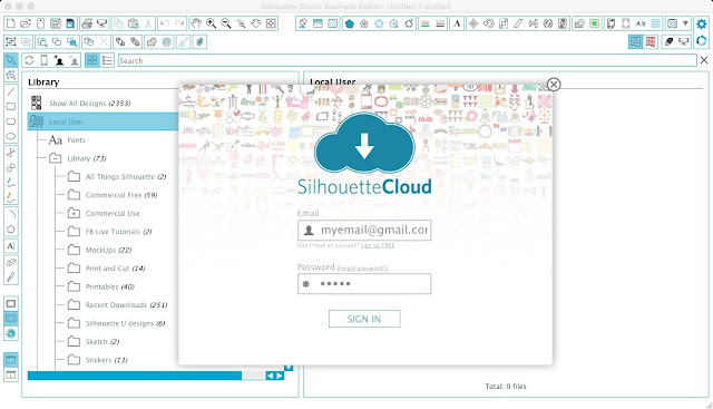 setting up silhouette cloud, silhouette cloud, silhouette studio v3.08.88, silhouette files missing