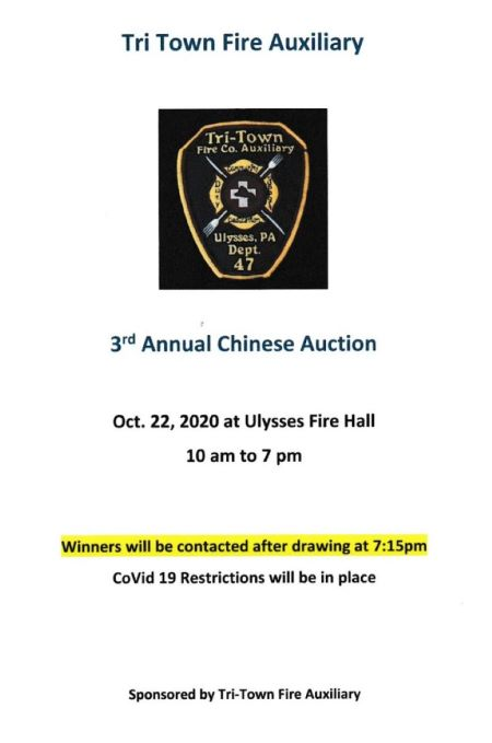 10-22 Tri Town Fire 3rd Annual Chinese Auction