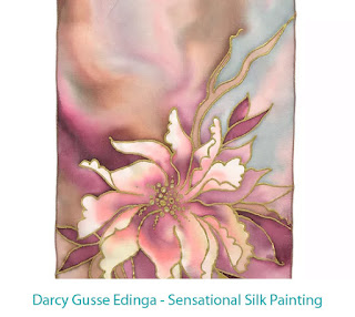 silk painted with a lily-type flower and an abstract background