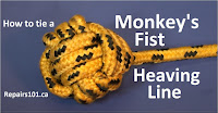 monkey's fist heaving line in yellow braid rope