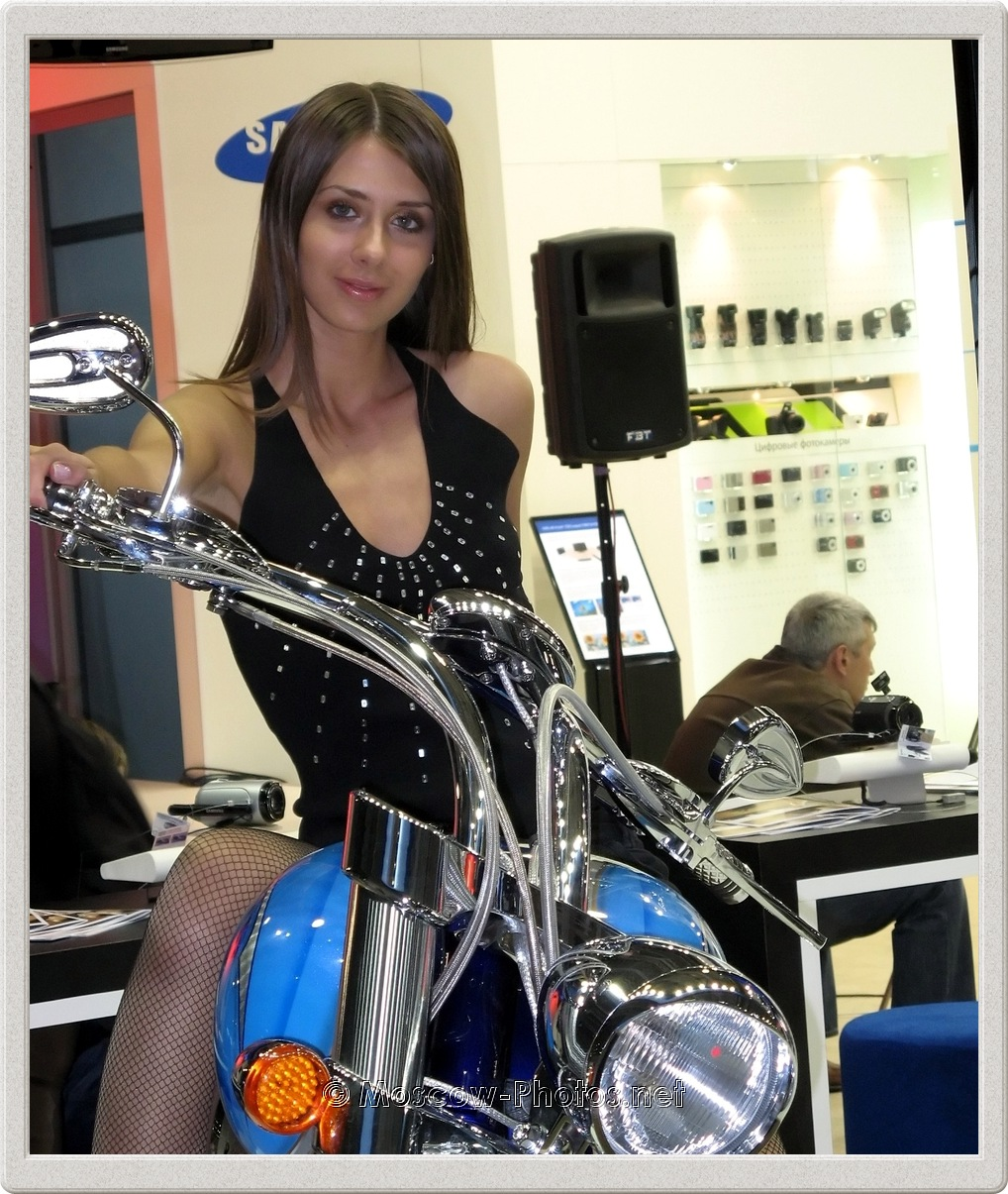 Moscow Model On Motorbike