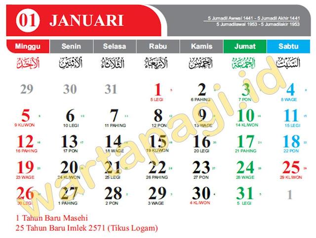 Kalender 2020 CorelDraw Merah