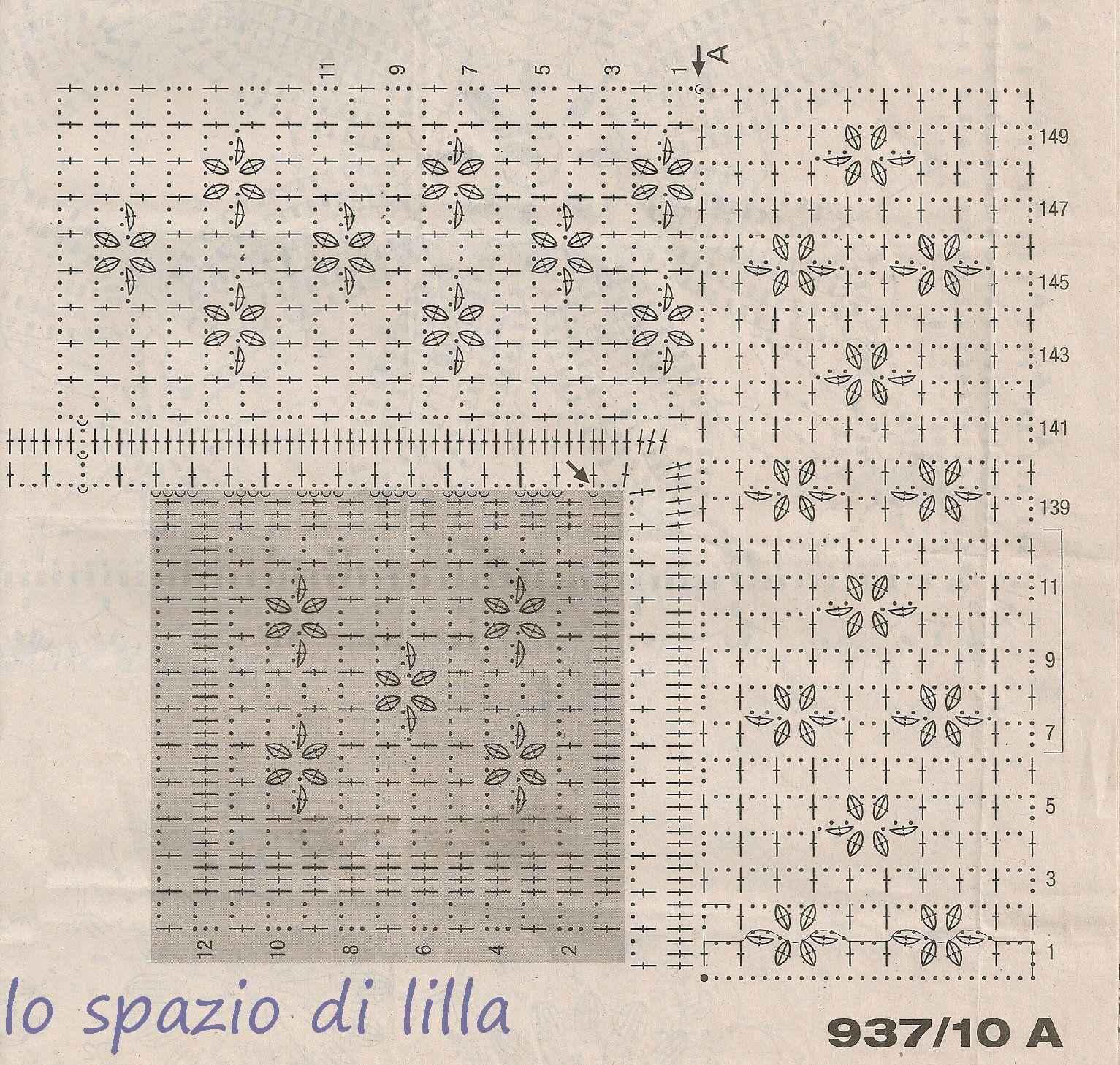 Lo spazio di lilla pizzi e bordure all 39 uncinetto da for Merletti a uncinetto schemi