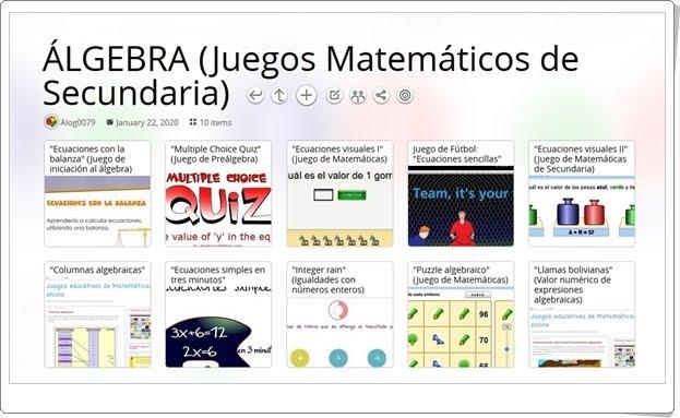 10 juegos matemáticos de ÁLGEBRA en Educación Secundaria